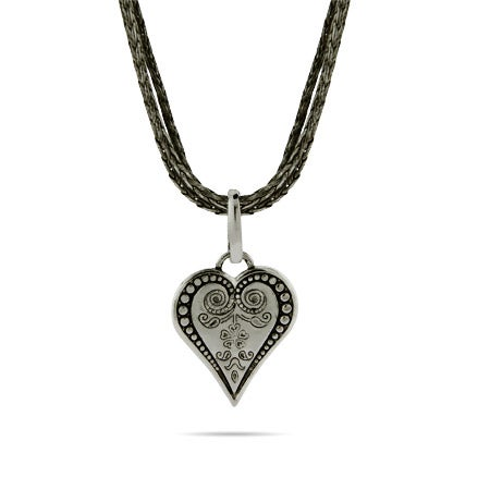 Designer Inspired Bali Style Heart Necklace on Triple Strand Chain