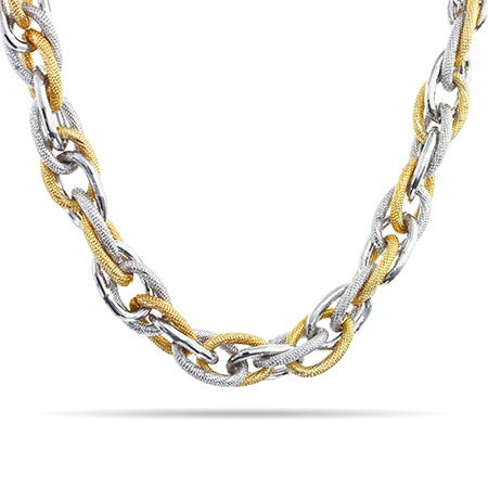 Designer Inspired Two Tone Chain Link Necklace