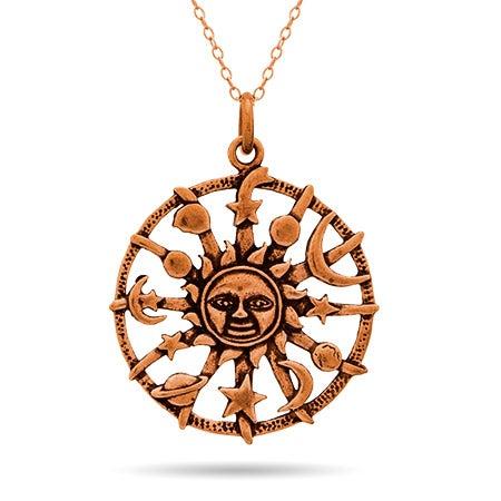 Aztec Sun Bronze Pendant Necklace