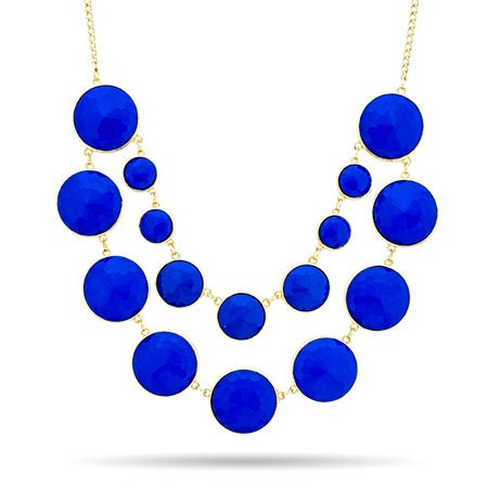 Blue and Gold Round Layered Statement Necklace