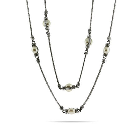 Designer Inspired 36 Inch Mother of Pearl Bali Necklace