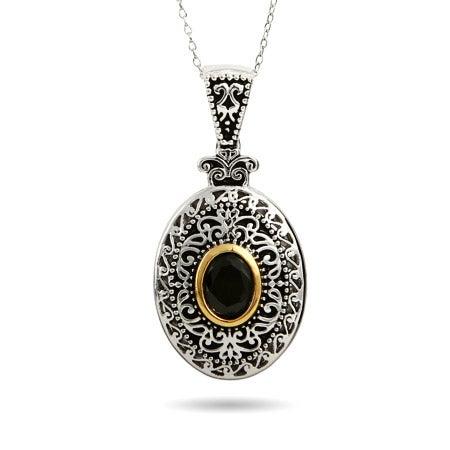 Renaissance Style Black Onyx Oval Pendant | Eve's Addiction