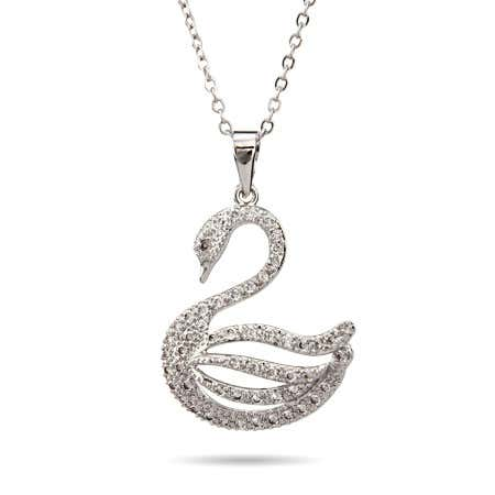 White Swan CZ Necklace