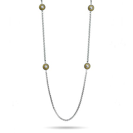 "Designer Inspired 42"" Round Two Tone CZ Necklace"