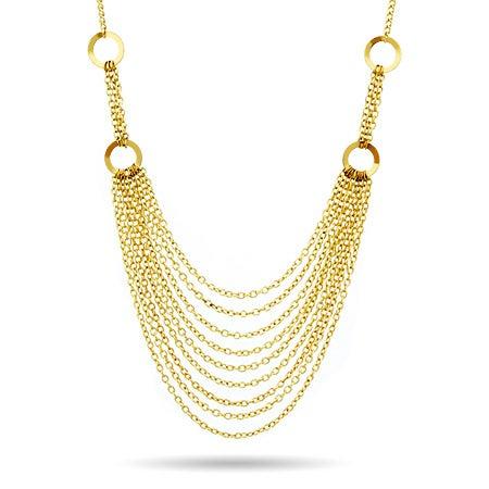 Layered Gold Chain Bib Statement Necklace