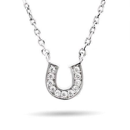 Petite CZ Horseshoe Necklace