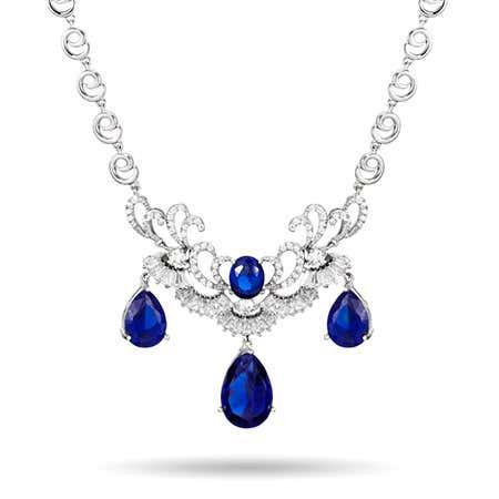 Pearcut Sapphire CZ Statement Necklace
