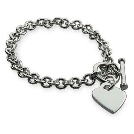 Silver Heart Tag Bracelet