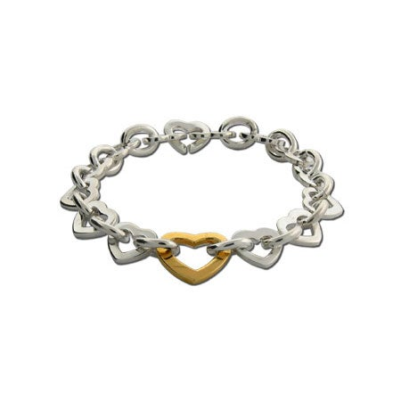 Silver Heart Link Bracelet with Gold