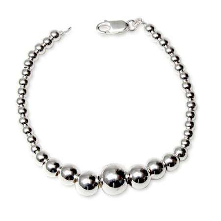 Graduated Bead Sterling Silver Bracelet | Eve's Addiction®