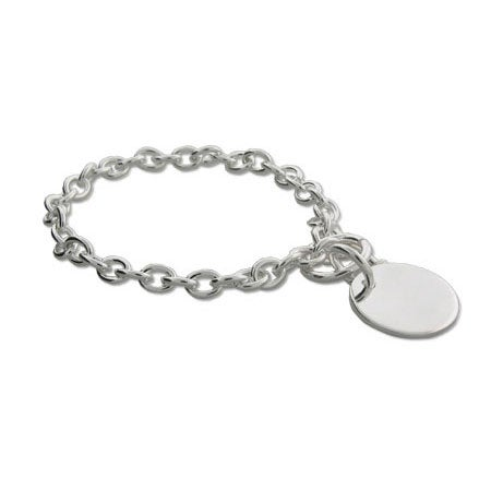 Sterling Silver Round Tag Bracelet | Eve's Addiction®
