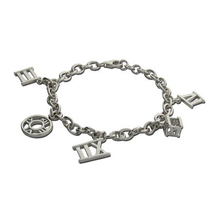 Roman Numeral Sterling Silver Charm Bracelet | Eve's Addiction®