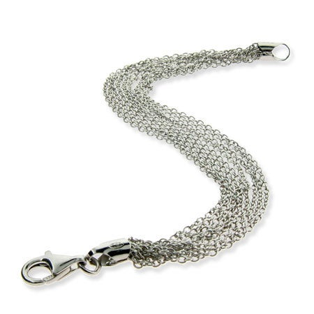 Sterling Silver Layered Multi Strand Chains Bracelet | Eve's Addiction®