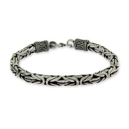 Mens Sterling Silver Bali Bracelet