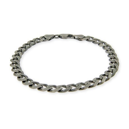 Men's Italian Curb Chain Sterling Silver Bracelet | Eve's Addiction®