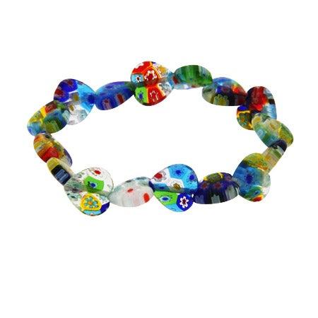 Sterling Silver Millefiori Venetian Glass Heart Bracelet   Eve's Addiction®
