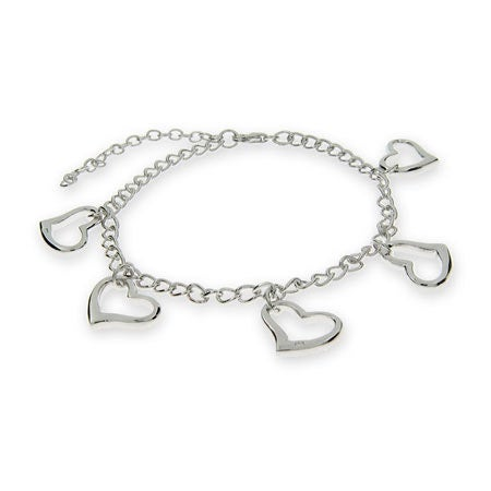 Sterling Silver Heart Charms Bracelet | Eve's Addiction®
