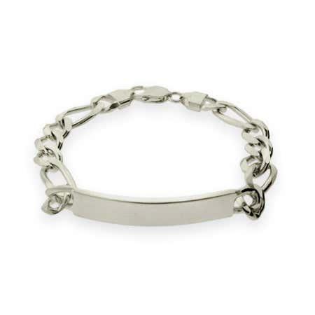 Mens Sterling Silver Figaro ID Bracelet