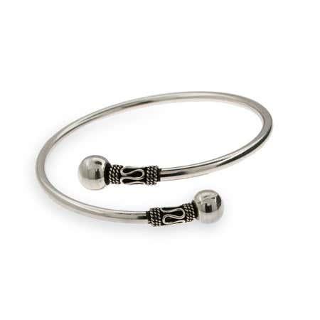 Sterling Silver Crossover Bali Bangle Bracelet