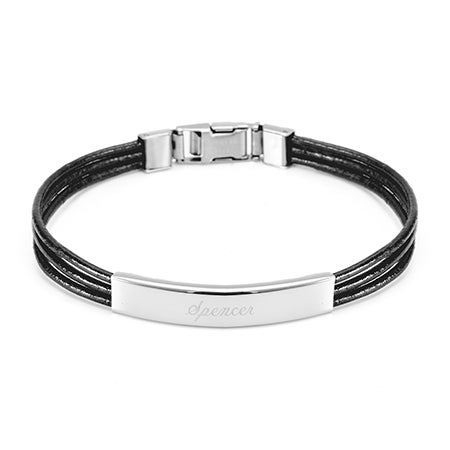 Ladies Black Leather Band ID Bracelet | Eve's Addiction®
