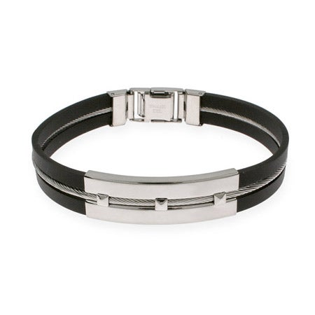 Men's Studded Bar Rubber and Stainless Steel Bracelet |Eve's Addiction