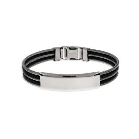 Mens Triple Row Cable and Rubber ID Bracelet