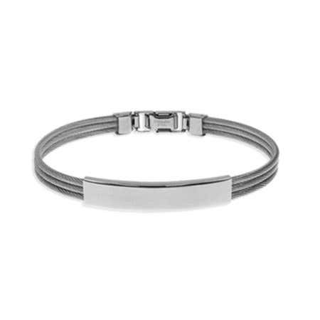 Mens Thin Three Row Cabled Wire Stainless Steel ID Bracelet | Eve's Addiction®