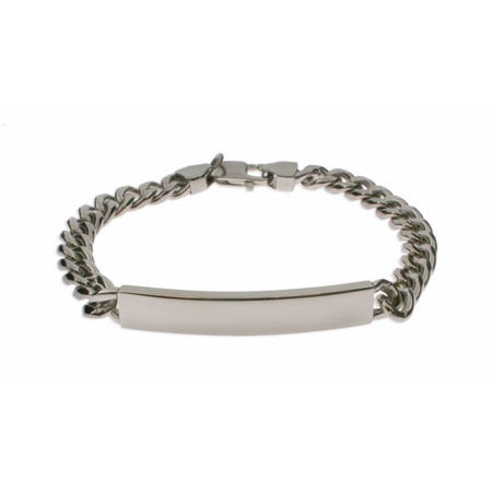 Mens Curb Link Stainless Steel ID Bracelet | Eve's Addiction®
