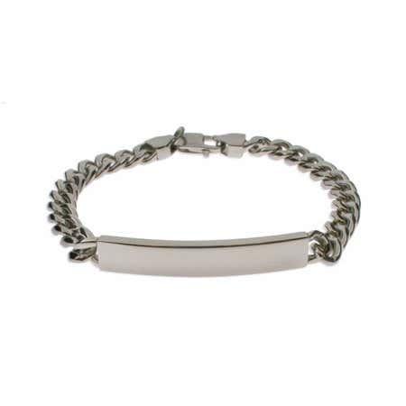 Mens Curb Link Stainless Steel ID Bracelet