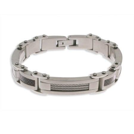 Men's Carbon Fiber and Stainless Steel Bracelet   Eve's Addiction