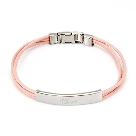 Ladies Pink Leather Band Stainless Steel ID Bracelet | Eve's Addiction®