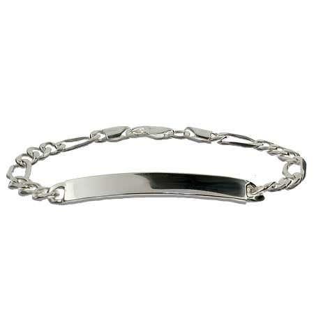 Sterling Silver 7 Inch Figaro Kids ID Bracelet