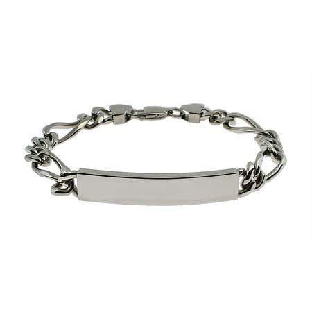 Engravable Stainless Steel Figaro Link ID Bracelet