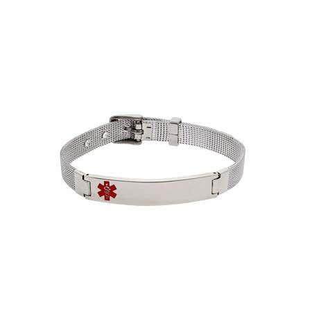 Engravable Emergency Medic ID Mesh Bracelet