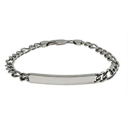 Slim Figaro Link Stainless Steel ID Bracelet | Eve's Addiction®