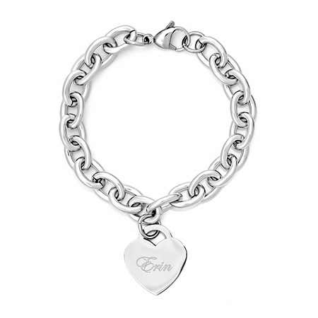 display slide 1 of 2 - Designer Style Stainless Steel Heart Tag Bracelet | Eve's Addiction® - selected slide