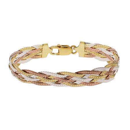 Six Strand Tri Color Braided Bracelet