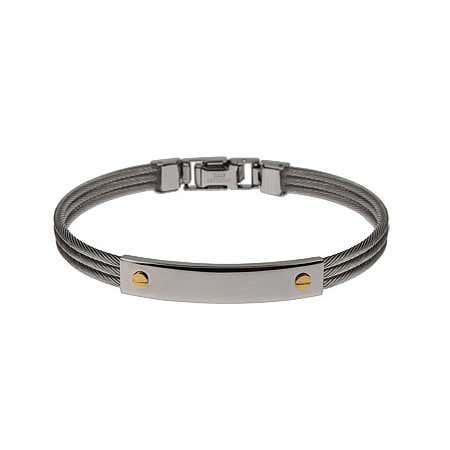Screw Motif Engravable Cable ID Bracelet
