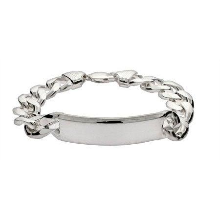 Men's Heavy Curb Link Sterling Silver ID Bracelet