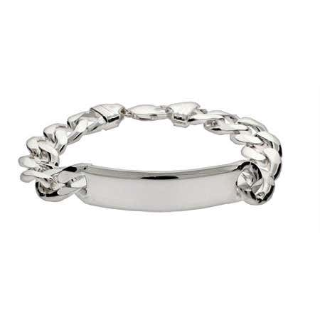 display slide 1 of 1 - Men's Heavy Curb Link Sterling Silver ID Bracelet - selected slide