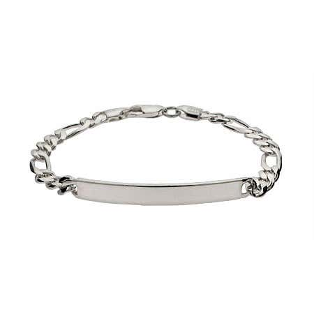 display slide 1 of 2 - Sterling Silver Engraved Ladies Thin Figaro Link ID Bracelet - selected slide