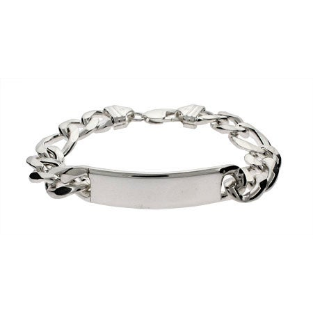 Mens Heavy Gauge Sterling Silver Figaro ID Bracelet | Eve's Addiction®