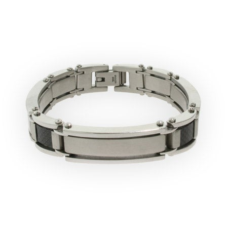 Stainless Steel and Carbon Fiber Mens Bracelet | Eve's Addiction®