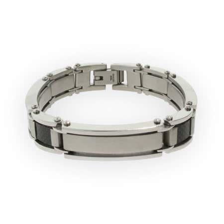 Stainless Steel and Carbon Fiber Mens Bracelet | Eve's Addiction®