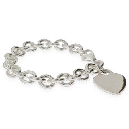 Sterling Silver Heavy Heart Tag Bracelet | Eve's Addiction®