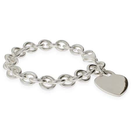 Sterling Silver Heavy Heart Tag Bracelet