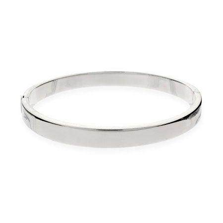 5mm Flat Engravable Sterling Silver Bangle Bracelet | Eve's Addiction®
