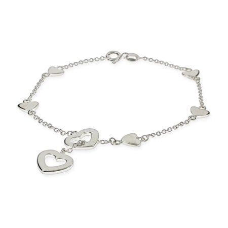 Sterling Silver Heart Lariat Bracelet | Eve's Addiction®