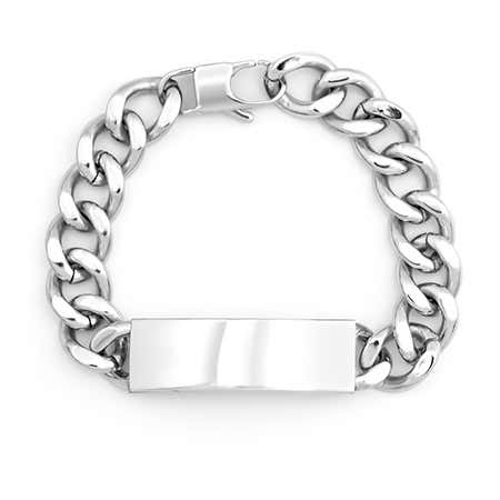 display slide 1 of 1 - Mens Stainless Steel Curb Link ID Bracelet - selected slide