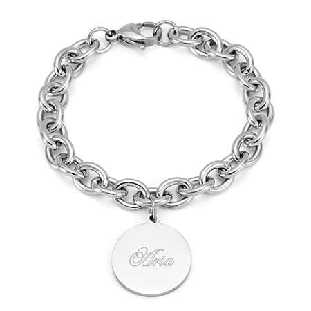 Stainless Steel Round Tag Bracelet